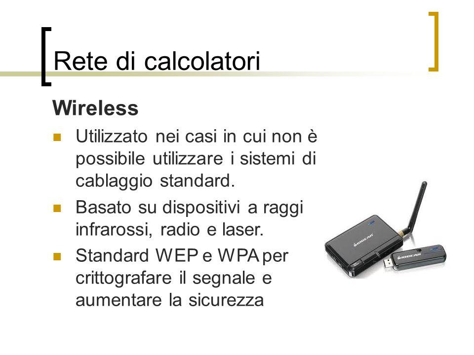 Rete di calcolatori Wireless Utilizzato nei casi in cui non è possibile utilizzare i sistemi di cablaggio standard. Basato su dispositivi a raggi infr