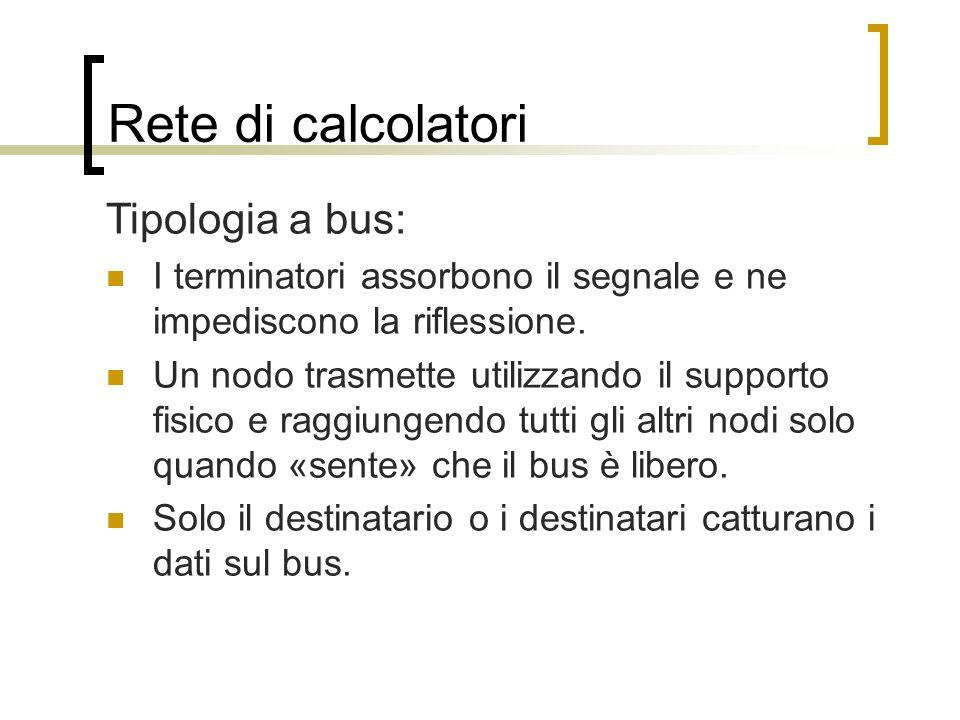Rete di calcolatori Tipologia a bus: I terminatori assorbono il segnale e ne impediscono la riflessione. Un nodo trasmette utilizzando il supporto fis
