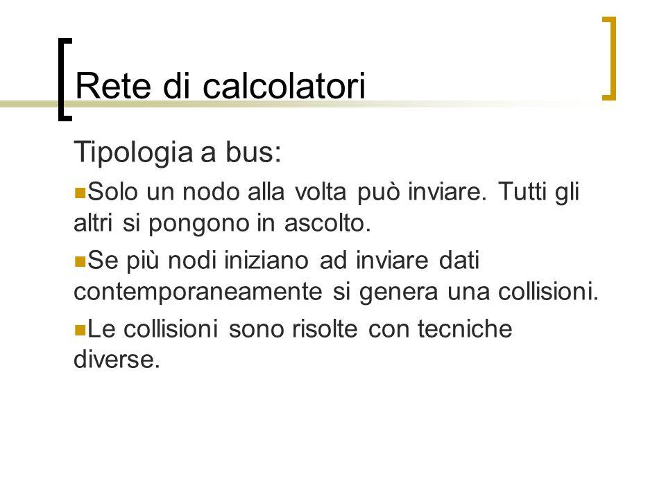 Rete di calcolatori Tipologia a bus: Solo un nodo alla volta può inviare. Tutti gli altri si pongono in ascolto. Se più nodi iniziano ad inviare dati