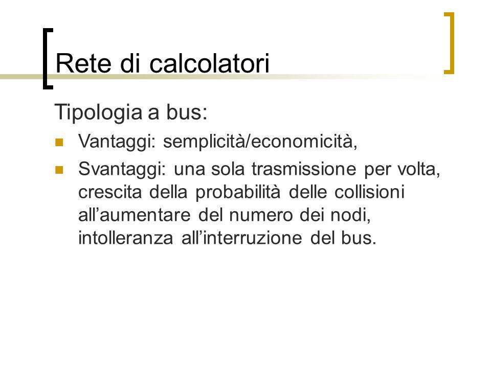 Rete di calcolatori Tipologia a bus: Vantaggi: semplicità/economicità, Svantaggi: una sola trasmissione per volta, crescita della probabilità delle co