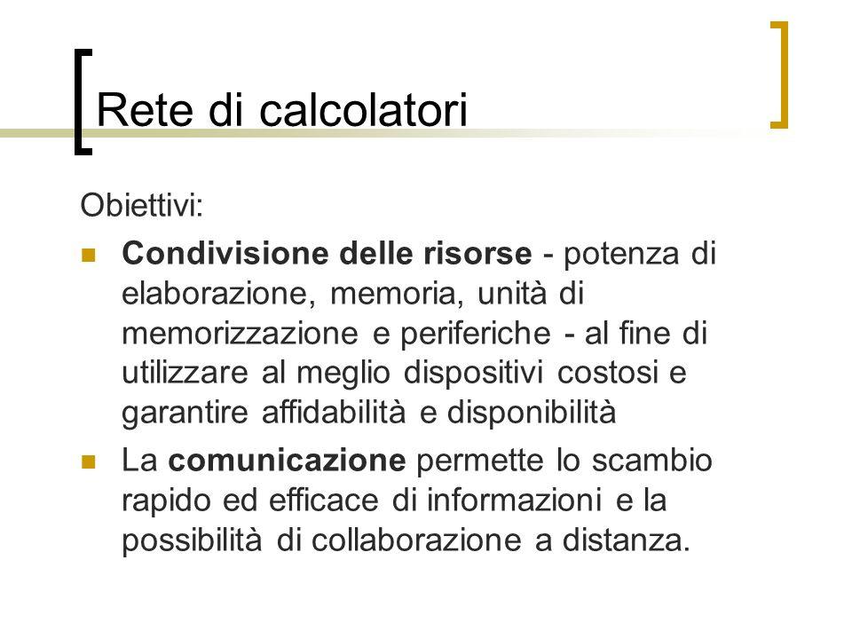 Rete di calcolatori Obiettivi: Condivisione delle risorse - potenza di elaborazione, memoria, unità di memorizzazione e periferiche - al fine di utili
