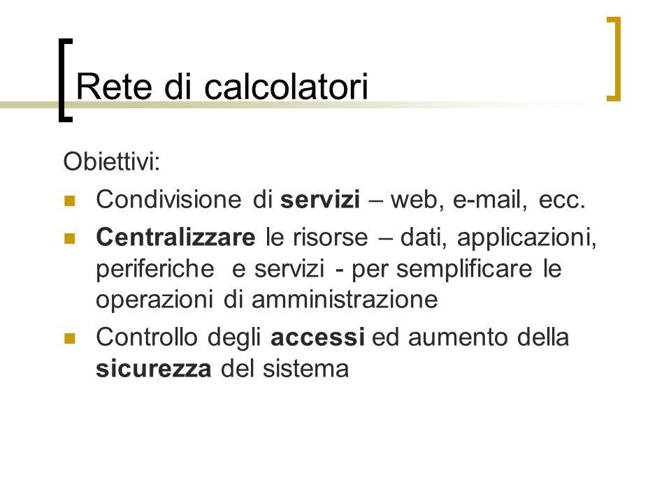 Rete di calcolatori Obiettivi: Condivisione di servizi – web, e-mail, ecc. Centralizzare le risorse – dati, applicazioni, periferiche e servizi - per