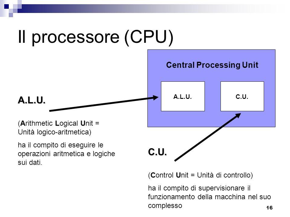 16 Il processore (CPU) A.L.U. ALU (Arithmetic Logical Unit = Unità logico-aritmetica) ha il compito di eseguire le operazioni aritmetica e logiche sui