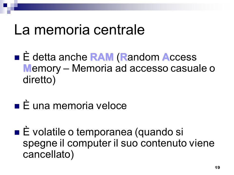 19 La memoria centrale RAMRA M È detta anche RAM (Random Access Memory – Memoria ad accesso casuale o diretto) È una memoria veloce È volatile o temporanea (quando si spegne il computer il suo contenuto viene cancellato)