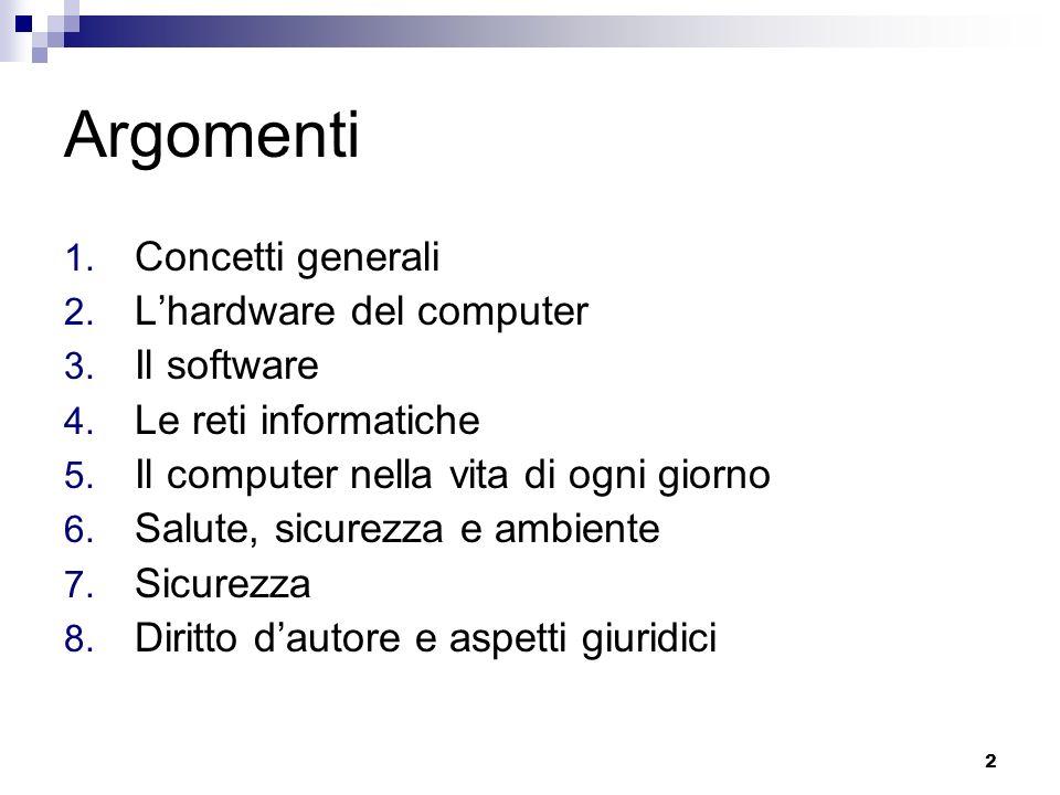 2 Argomenti 1. Concetti generali 2. Lhardware del computer 3. Il software 4. Le reti informatiche 5. Il computer nella vita di ogni giorno 6. Salute,