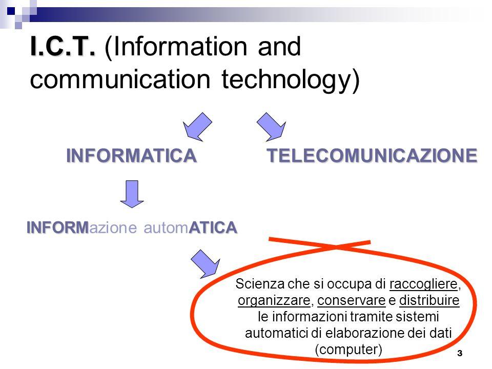 34 Unità di misura della capacità di memoria Linformazione elaborata da un computer deve essere rappresentata tramite dispositivi che possono assumere 2 stati Lalfabeto informatico è formato da 2 simboli: 0 e 1