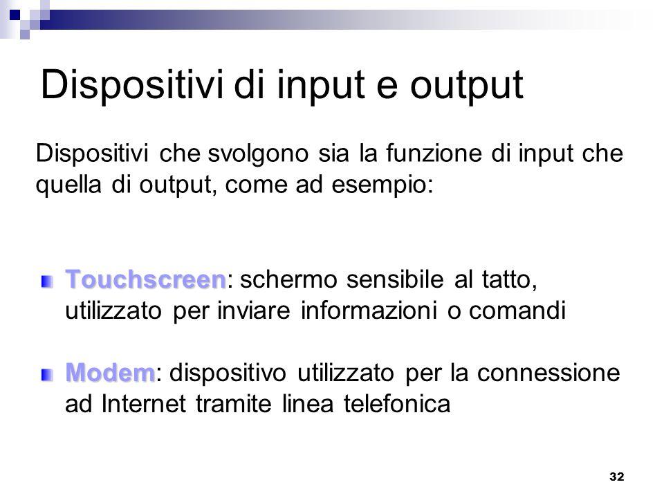 32 Dispositivi di input e output Touchscreen Touchscreen: schermo sensibile al tatto, utilizzato per inviare informazioni o comandi Modem Modem: dispo