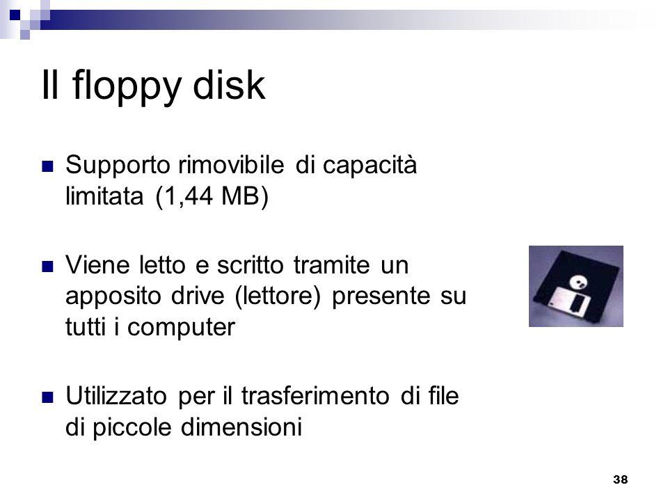 38 Il floppy disk Supporto rimovibile di capacità limitata (1,44 MB) Viene letto e scritto tramite un apposito drive (lettore) presente su tutti i com