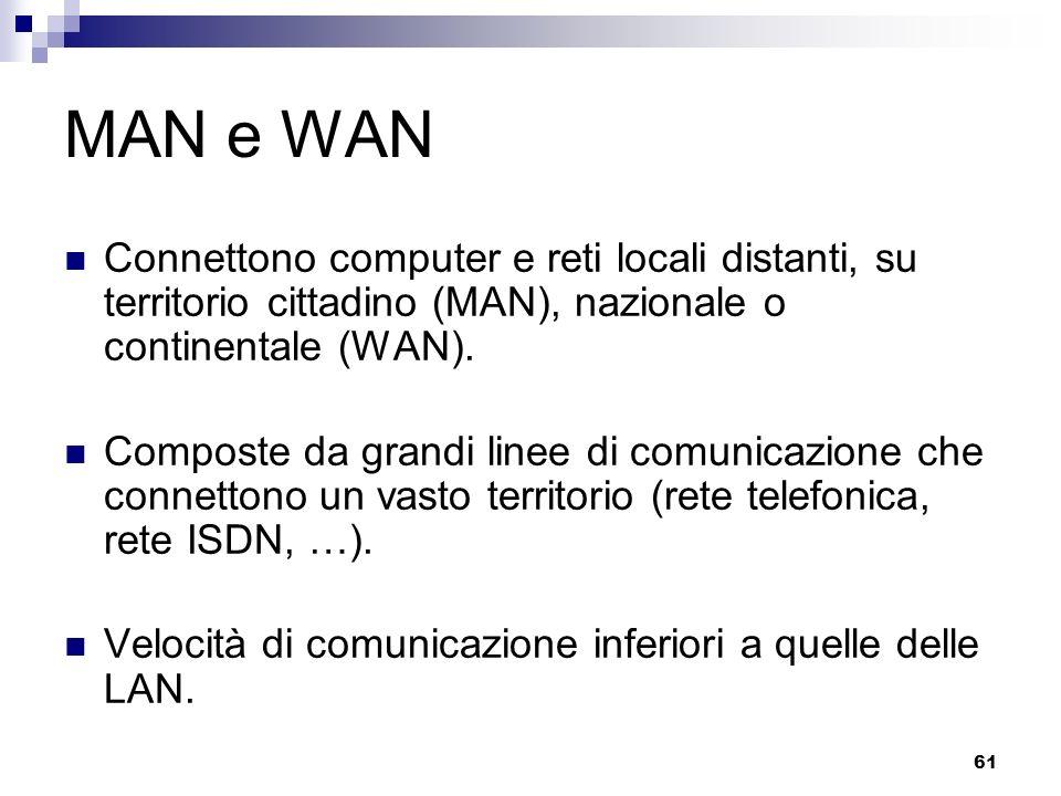 61 MAN e WAN Connettono computer e reti locali distanti, su territorio cittadino (MAN), nazionale o continentale (WAN). Composte da grandi linee di co