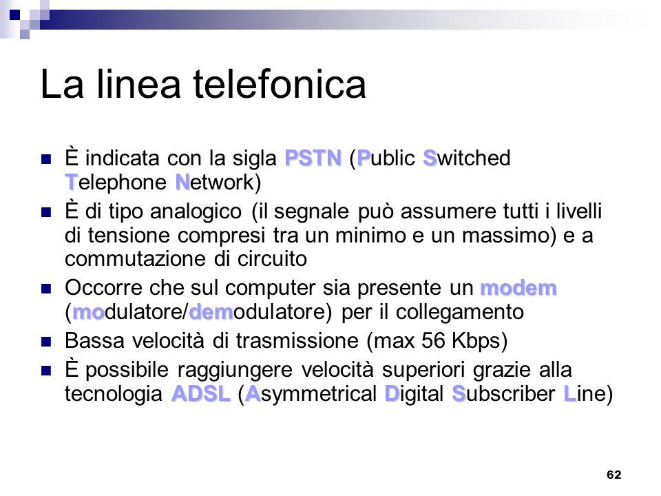 62 La linea telefonica PSTNPS TN È indicata con la sigla PSTN (Public Switched Telephone Network) È di tipo analogico (il segnale può assumere tutti i livelli di tensione compresi tra un minimo e un massimo) e a commutazione di circuito modem modem Occorre che sul computer sia presente un modem (modulatore/demodulatore) per il collegamento Bassa velocità di trasmissione (max 56 Kbps) ADSLADSL È possibile raggiungere velocità superiori grazie alla tecnologia ADSL (Asymmetrical Digital Subscriber Line)