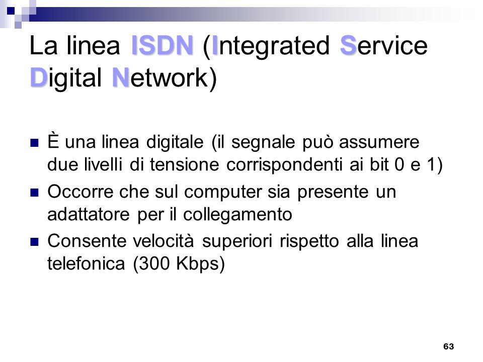 63 ISDNIS DN La linea ISDN (Integrated Service Digital Network) È una linea digitale (il segnale può assumere due livelli di tensione corrispondenti ai bit 0 e 1) Occorre che sul computer sia presente un adattatore per il collegamento Consente velocità superiori rispetto alla linea telefonica (300 Kbps)