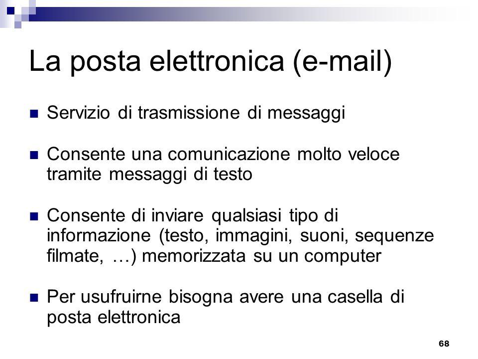 68 La posta elettronica (e-mail) Servizio di trasmissione di messaggi Consente una comunicazione molto veloce tramite messaggi di testo Consente di in