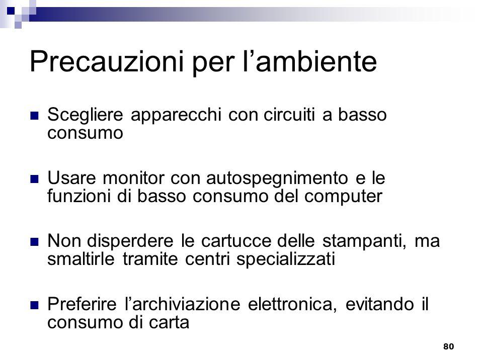 80 Precauzioni per lambiente Scegliere apparecchi con circuiti a basso consumo Usare monitor con autospegnimento e le funzioni di basso consumo del co