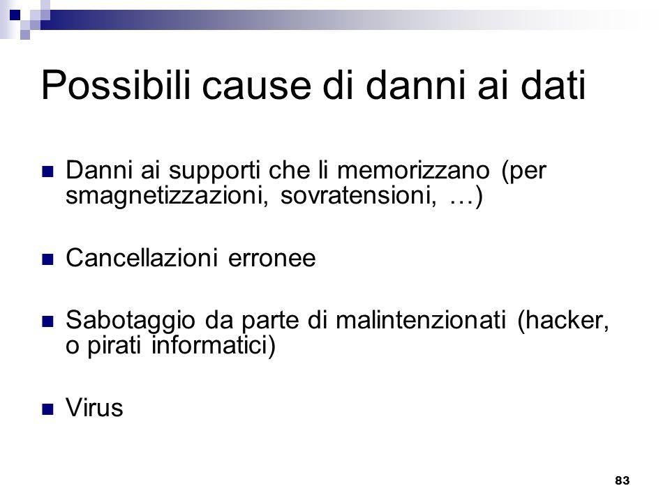 83 Possibili cause di danni ai dati Danni ai supporti che li memorizzano (per smagnetizzazioni, sovratensioni, …) Cancellazioni erronee Sabotaggio da parte di malintenzionati (hacker, o pirati informatici) Virus