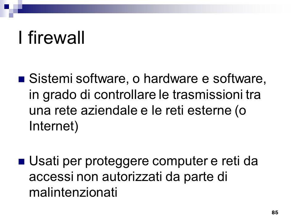 85 I firewall Sistemi software, o hardware e software, in grado di controllare le trasmissioni tra una rete aziendale e le reti esterne (o Internet) Usati per proteggere computer e reti da accessi non autorizzati da parte di malintenzionati