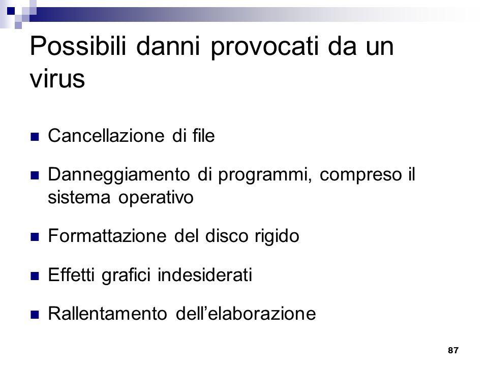 87 Possibili danni provocati da un virus Cancellazione di file Danneggiamento di programmi, compreso il sistema operativo Formattazione del disco rigi