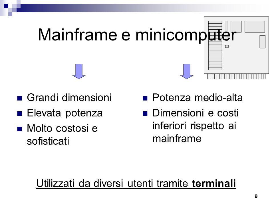 9 Mainframe e minicomputer Grandi dimensioni Elevata potenza Molto costosi e sofisticati Potenza medio-alta Dimensioni e costi inferiori rispetto ai m