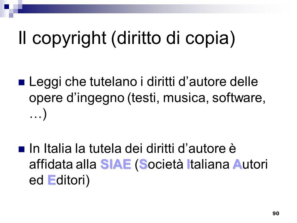 90 Il copyright (diritto di copia) Leggi che tutelano i diritti dautore delle opere dingegno (testi, musica, software, …) SIAESIA E In Italia la tutela dei diritti dautore è affidata alla SIAE (Società Italiana Autori ed Editori)