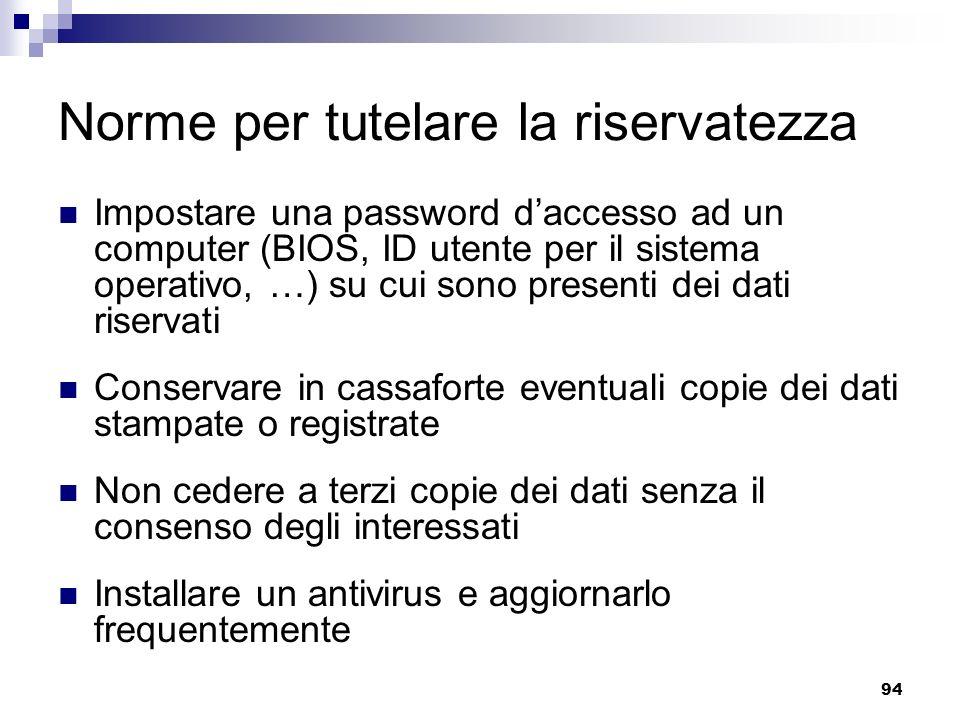 94 Norme per tutelare la riservatezza Impostare una password daccesso ad un computer (BIOS, ID utente per il sistema operativo, …) su cui sono present
