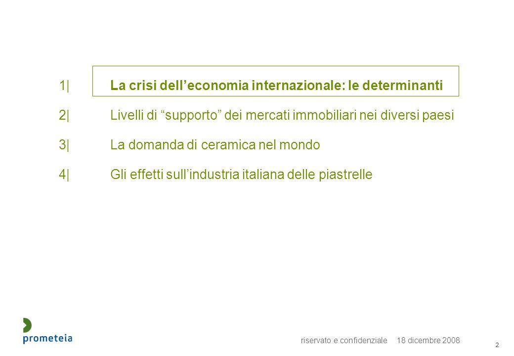 riservato e confidenziale 18 dicembre 2008 2 1|La crisi delleconomia internazionale: le determinanti 2|Livelli di supporto dei mercati immobiliari nei