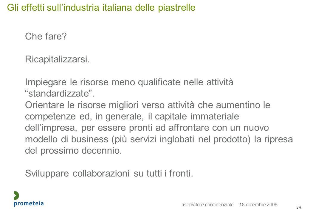 riservato e confidenziale 18 dicembre 2008 34 Gli effetti sullindustria italiana delle piastrelle Che fare? Ricapitalizzarsi. Impiegare le risorse men