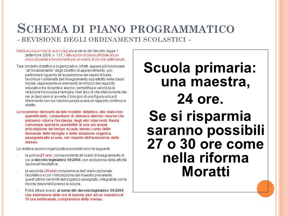 S CHEMA DI PIANO PROGRAMMATICO - REVISIONE DEGLI ORDINAMENTI SCOLASTICI - Nella scuola primaria va privilegiata ai sensi del decreto legge 1 settembre