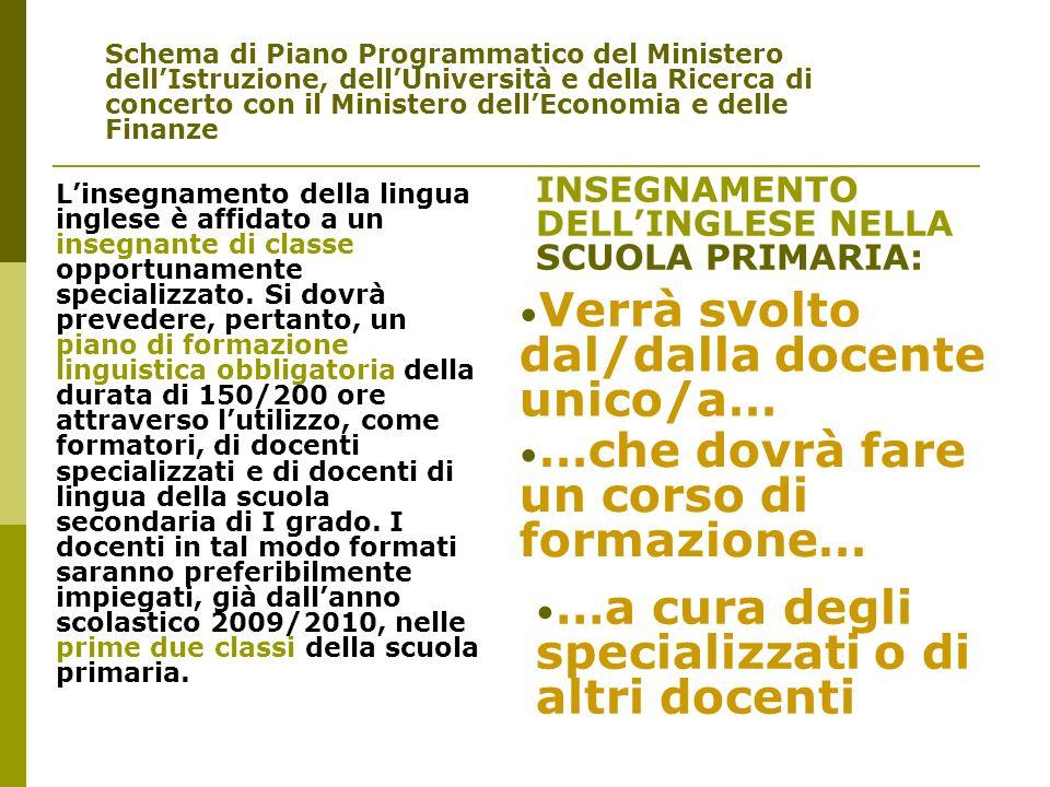 Schema di Piano Programmatico del Ministero dellIstruzione, dellUniversità e della Ricerca di concerto con il Ministero dellEconomia e delle Finanze L