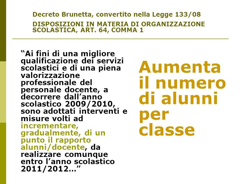 Decreto Brunetta, convertito nella Legge 133/08 DISPOSIZIONI IN MATERIA DI ORGANIZZAZIONE SCOLASTICA, ART. 64, COMMA 1 Ai fini di una migliore qualifi
