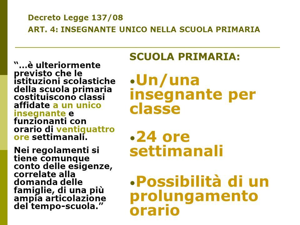 Decreto Legge 137/08 ART. 4: INSEGNANTE UNICO NELLA SCUOLA PRIMARIA …è ulteriormente previsto che le istituzioni scolastiche della scuola primaria cos