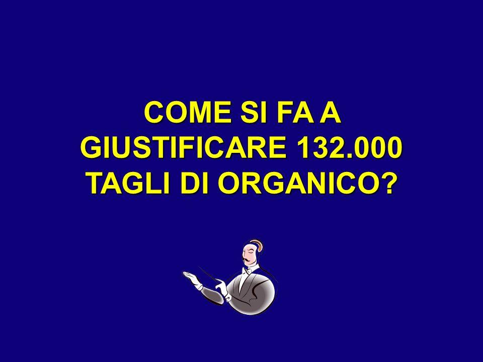 COME SI FA A GIUSTIFICARE 132.000 TAGLI DI ORGANICO?