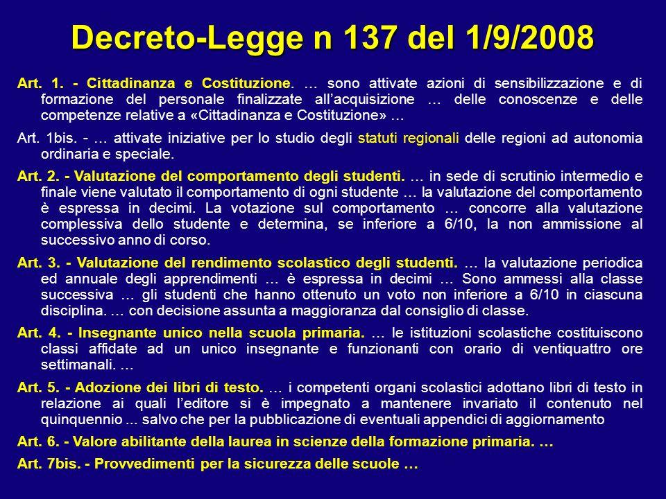 Decreto-Legge n 137 del 1/9/2008 Art. 1. - Cittadinanza e Costituzione.