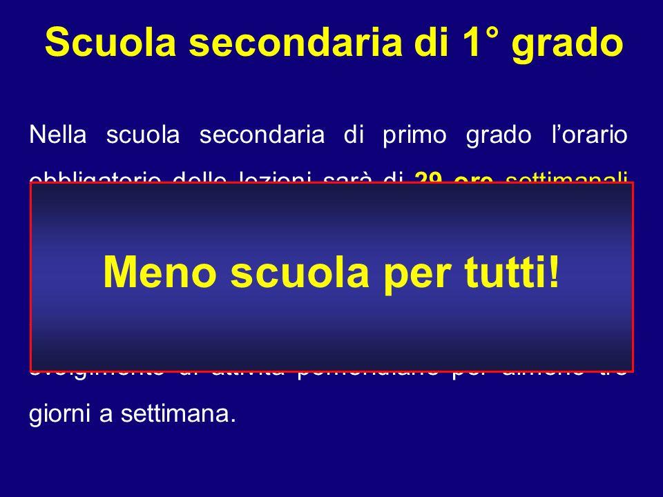 Scuola secondaria di 1° grado Nella scuola secondaria di primo grado lorario obbligatorio delle lezioni sarà di 29 ore settimanali così come previsto dalla riforma Moratti.