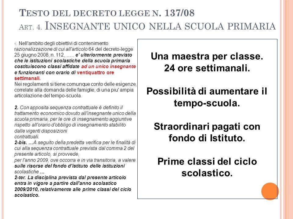 T ESTO DEL DECRETO LEGGE N. 137/08 A RT. 4.