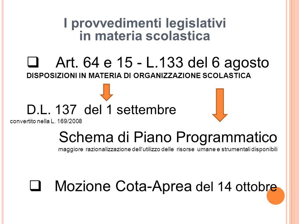 I provvedimenti legislativi in materia scolastica Art.