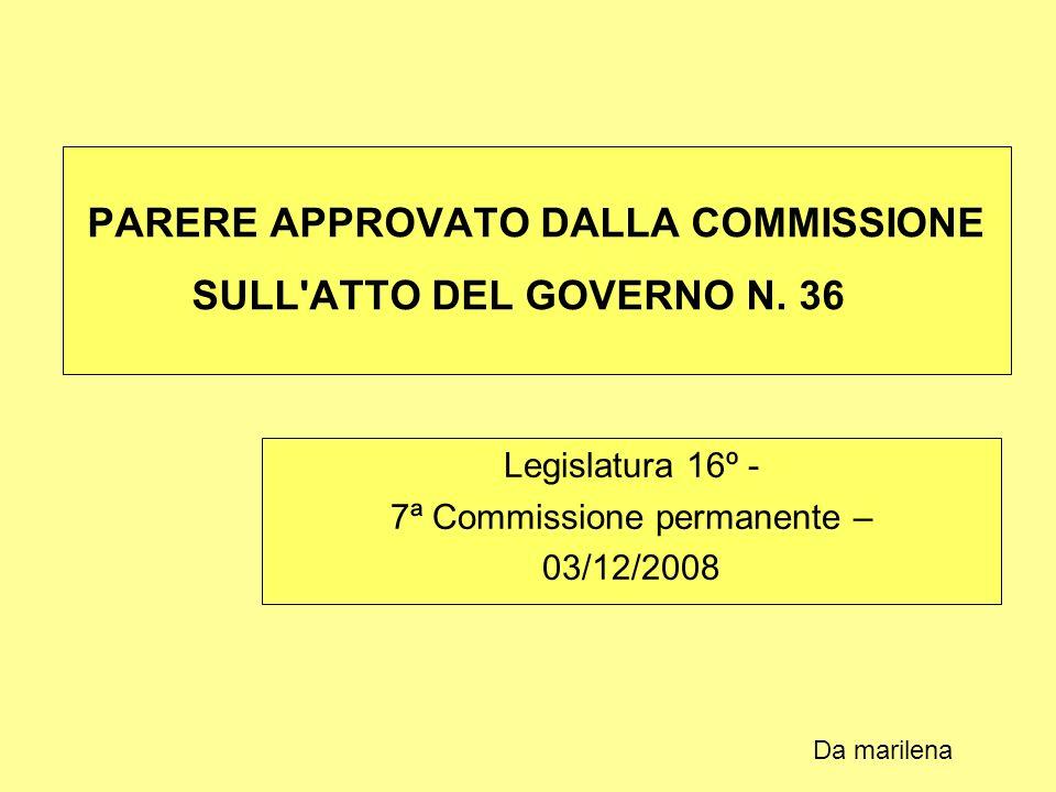 PARERE APPROVATO DALLA COMMISSIONE SULL ATTO DEL GOVERNO N.