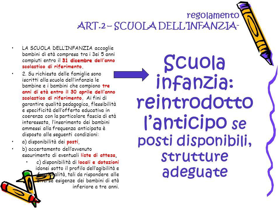 regolamento ART.2 – SCUOLA DELLINFANZIA- 31 dicembreLA SCUOLA DELLINFANZIA accoglie bambini di età compresa tra i 3ei 5 anni compiuti entro il 31 dice