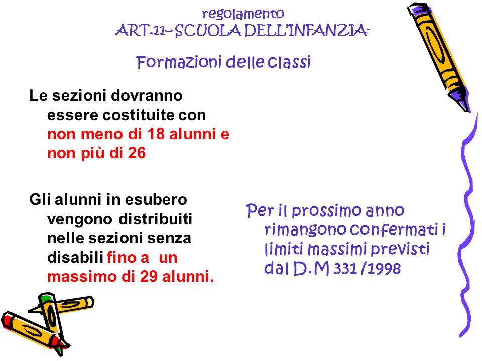 regolamento ART.11– SCUOLA DELLINFANZIA- Formazioni delle classi Le sezioni dovranno essere costituite con non meno di 18 alunni e non più di 26 Gli a