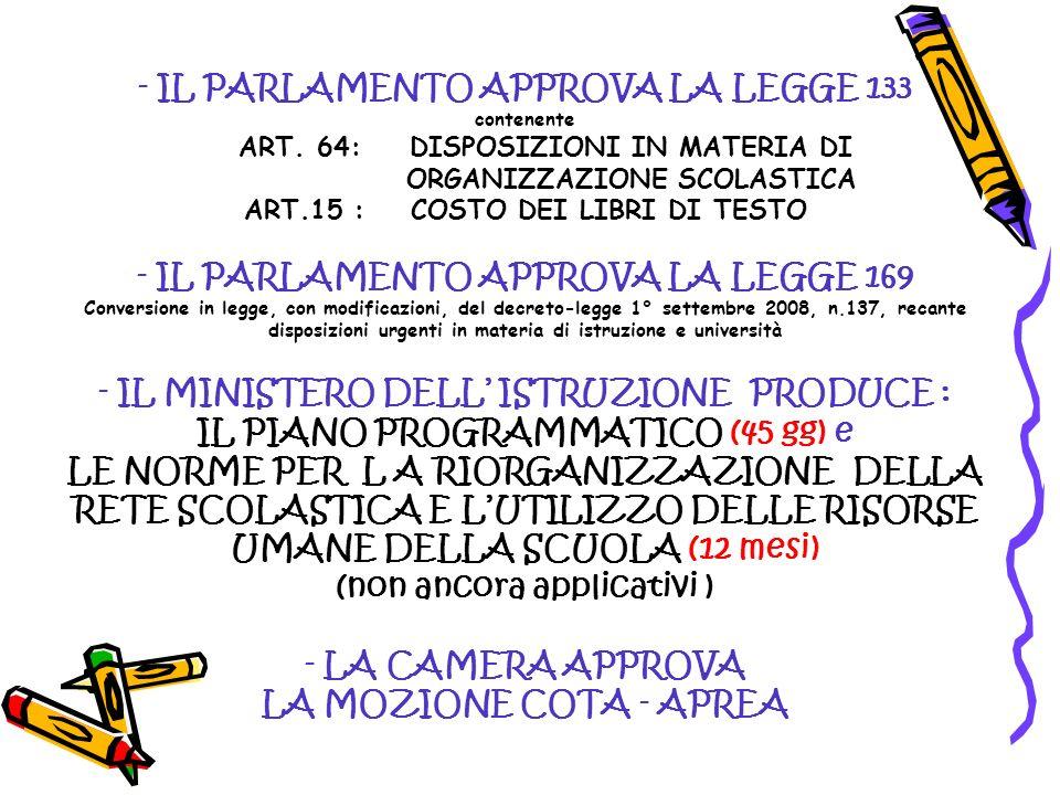 - IL PARLAMENTO APPROVA LA LEGGE 133 contenente ART. 64: DISPOSIZIONI IN MATERIA DI ORGANIZZAZIONE SCOLASTICA ART.15 : COSTO DEI LIBRI DI TESTO - IL P