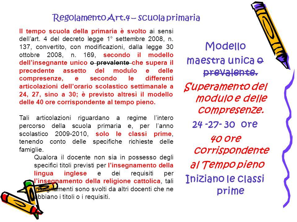Il tempo scuola della primaria è svolto ai sensi dellart. 4 del decreto legge 1° settembre 2008, n. 137, convertito, con modificazioni, dalla legge 30