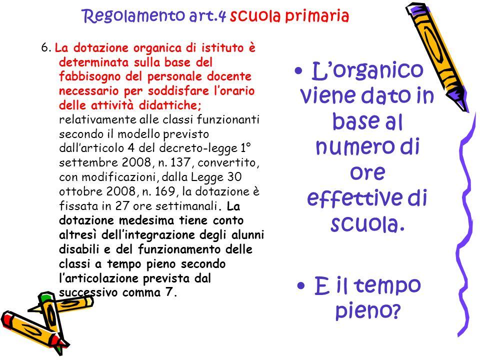 Regolamento art.4 scuola primaria 6. La dotazione organica di istituto è determinata sulla base del fabbisogno del personale docente necessario per so