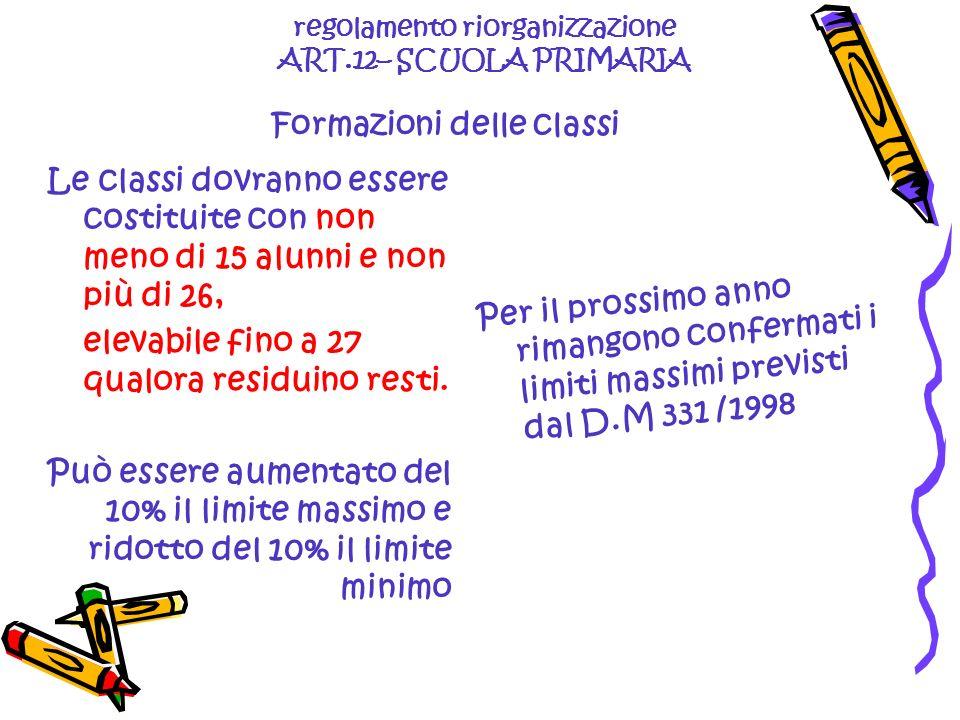 regolamento riorganizzazione ART.12– SCUOLA PRIMARIA Formazioni delle classi Le classi dovranno essere costituite con non meno di 15 alunni e non più di 26, elevabile fino a 27 qualora residuino resti.