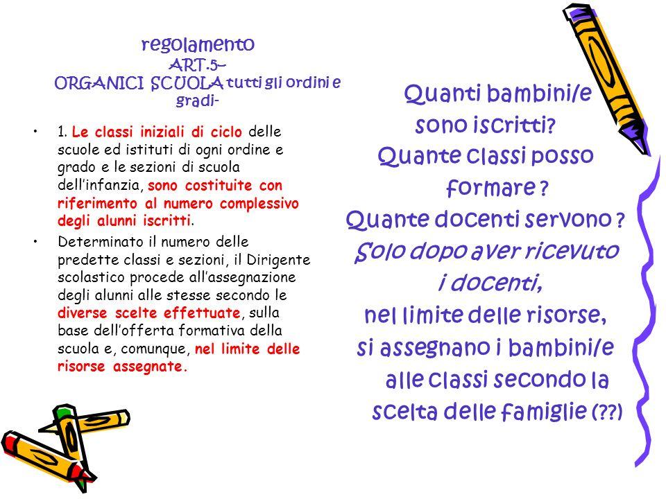 regolamento ART.5– ORGANICI SCUOLA tutti gli ordini e gradi- 1. Le classi iniziali di ciclo delle scuole ed istituti di ogni ordine e grado e le sezio