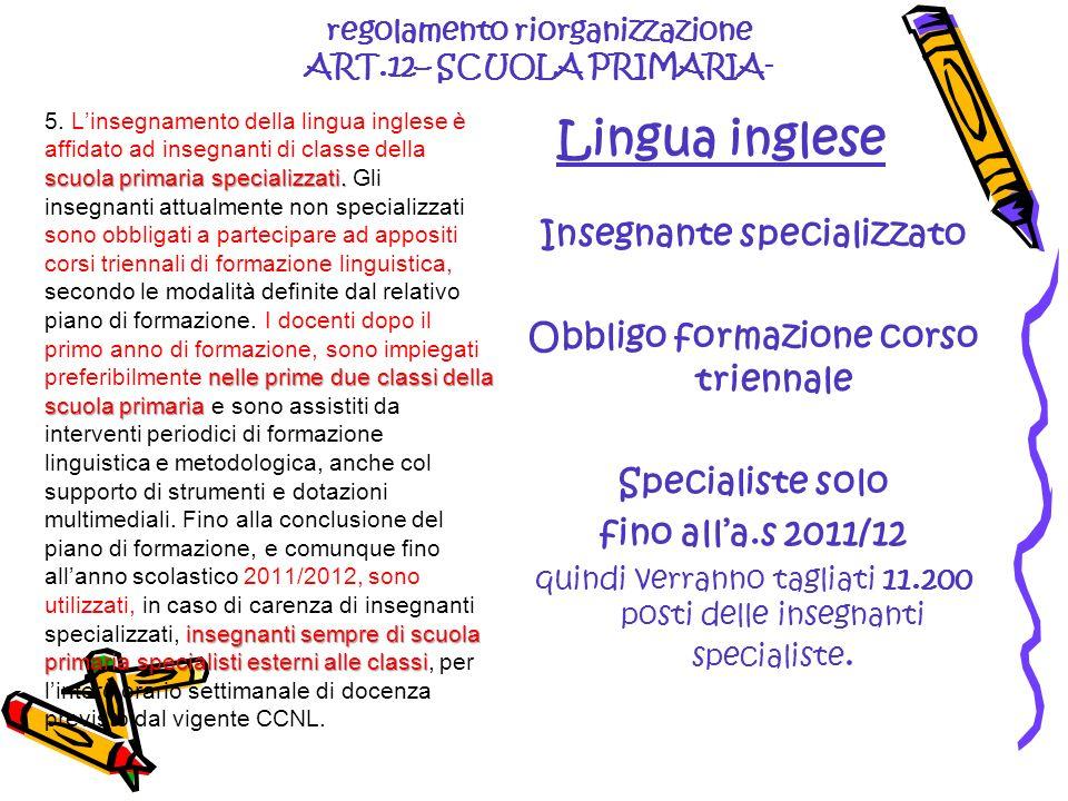 regolamento riorganizzazione ART.12– SCUOLA PRIMARIA- Lingua inglese scuola primaria specializzati. nelle prime due classi della scuola primaria inseg