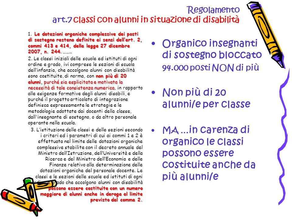 Regolamento art.7 classi con alunni in situazione di disabilità Le dotazioni organiche complessive dei posti di sostegno restano definite ai sensi dellart.