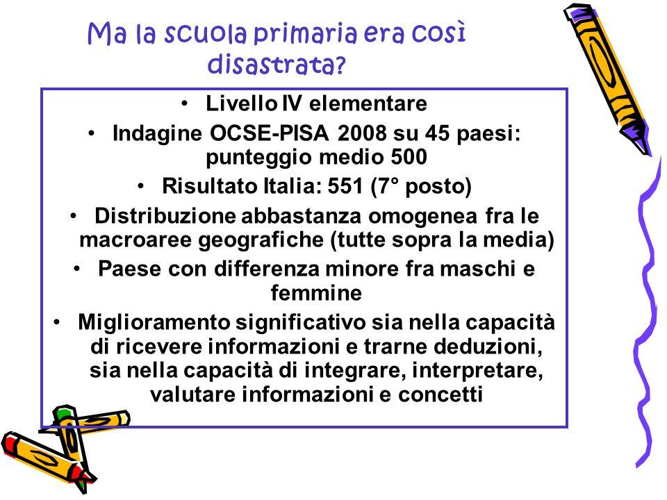 Ma la scuola primaria era così disastrata? Livello IV elementare Indagine OCSE-PISA 2008 su 45 paesi: punteggio medio 500 Risultato Italia: 551 (7° po