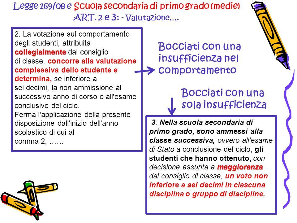 Legge 169/08 e Scuola secondaria di primo grado (medie) ART. 2 e 3 : - Valutazione…. maggioranza 3: Nella scuola secondaria di primo grado, sono ammes