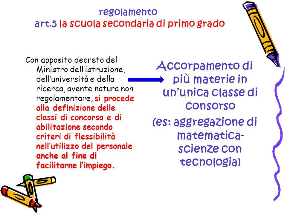 regolamento art.5 la scuola secondaria di primo grado anche al fine di facilitarne limpiego.