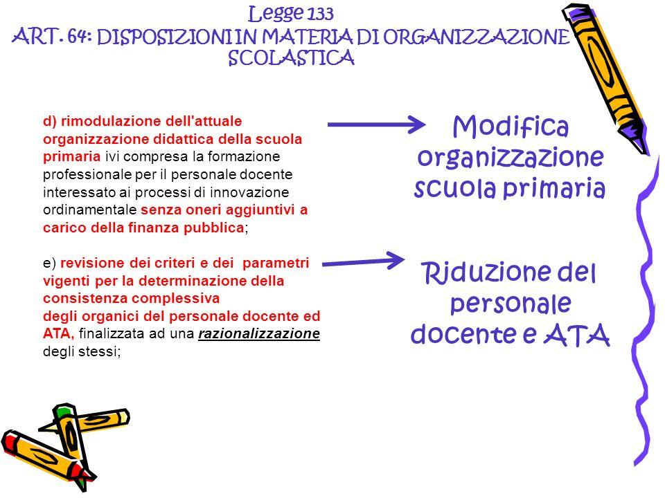 Legge 133 ART. 64: DISPOSIZIONI IN MATERIA DI ORGANIZZAZIONE SCOLASTICA Modifica organizzazione scuola primaria Riduzione del personale docente e ATA