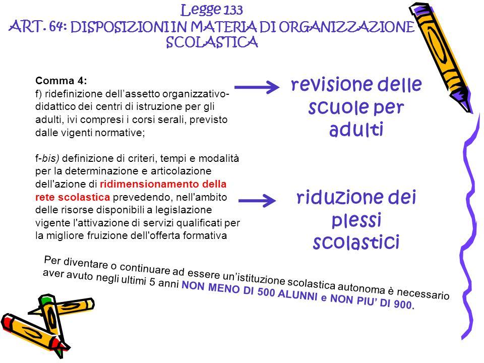 Legge 133 ART. 64: DISPOSIZIONI IN MATERIA DI ORGANIZZAZIONE SCOLASTICA revisione delle scuole per adulti riduzione dei plessi scolastici Comma 4: f)