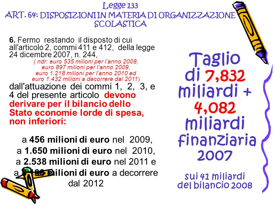 6. Fermo restando il disposto di cui all'articolo 2, commi 411 e 412, della legge 24 dicembre 2007, n. 244, ( ndr: euro 535 milioni per lanno 2008, eu